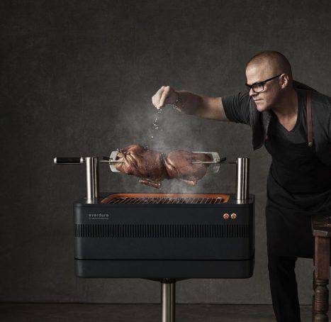 Fusion heston rotisserie grilling