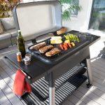 Furnace black open grill steak and vegetales