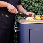 mobile preparation kitchen acacia wood chopping surface and knife storage
